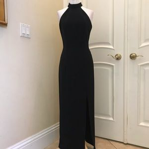 Dave & Johnny black knit gown with mesh back
